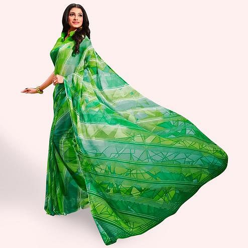 Lovely Green Colored Casual Printed Chiffon Saree