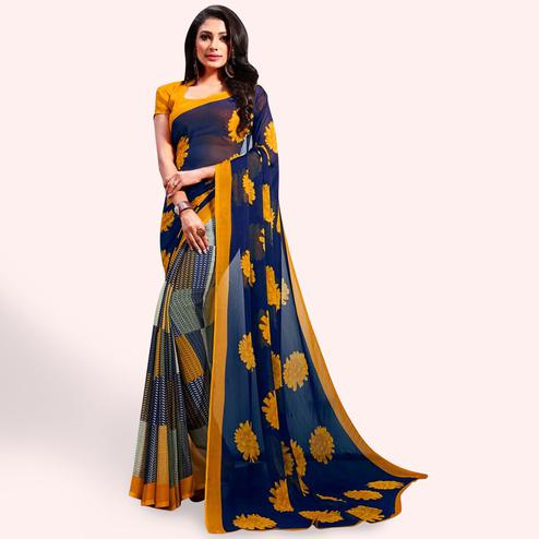 Majesty Blue-Yellow Colored Casual Printed Chiffon Saree