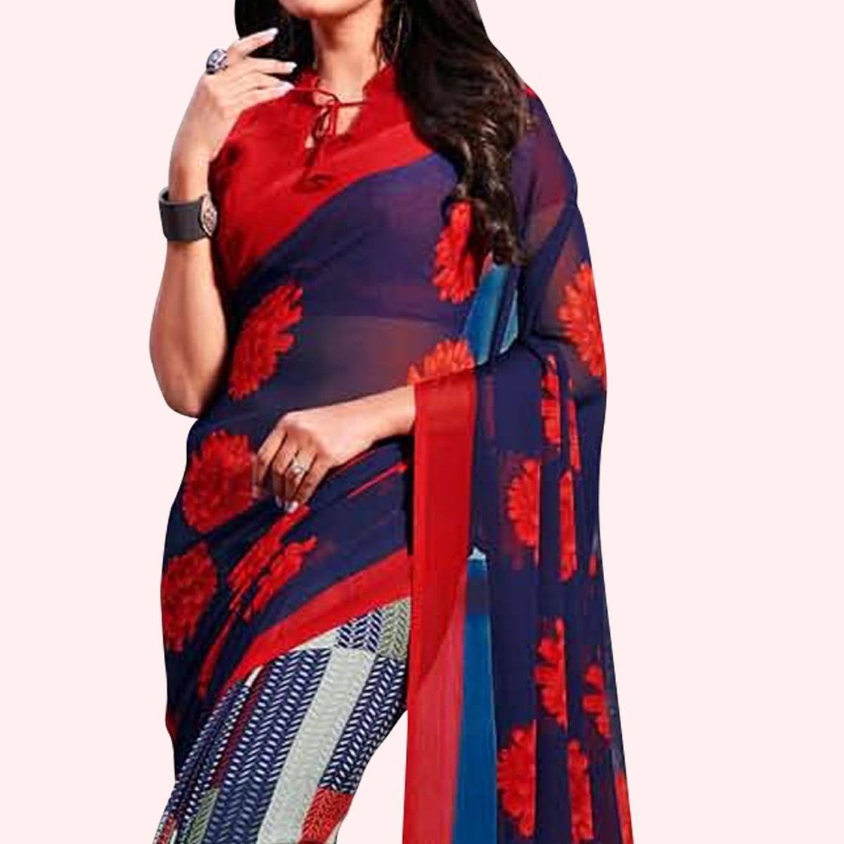Marvellous Blue-Red Colored Casual Printed Chiffon Saree