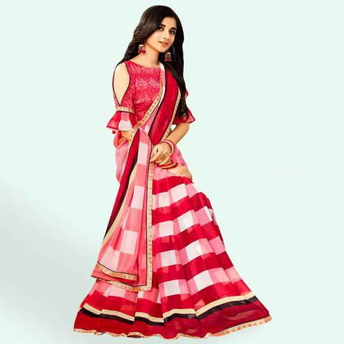 Lovely Red White Colored Casual Printed Faux Georgette Saree