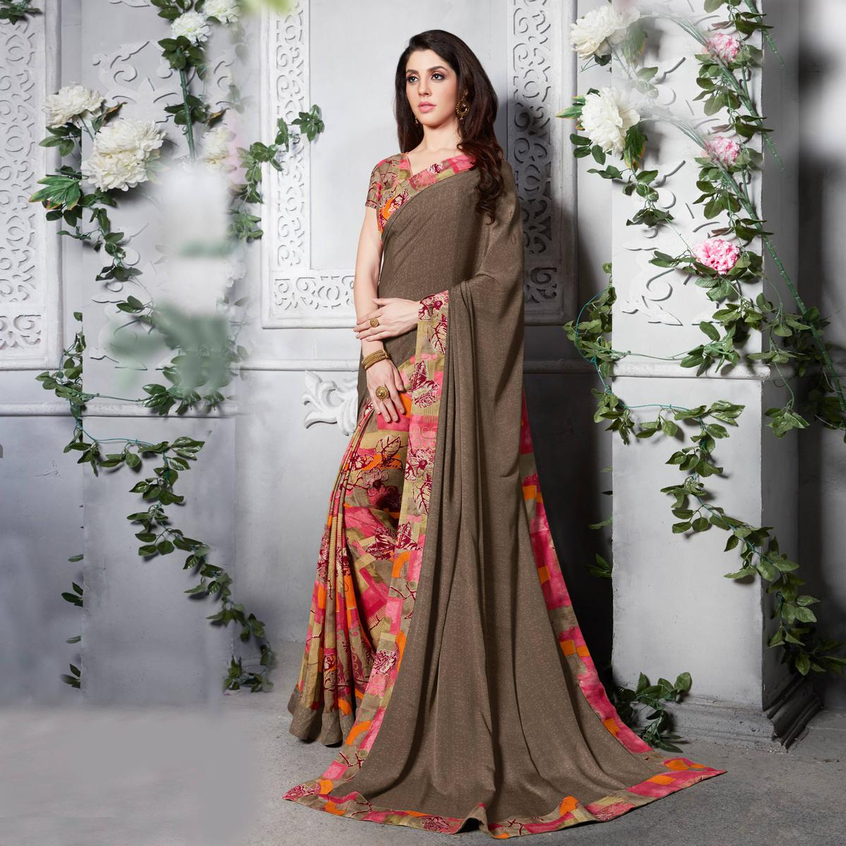 Brown - Pink Silk Crape Printed Half - Half Saree