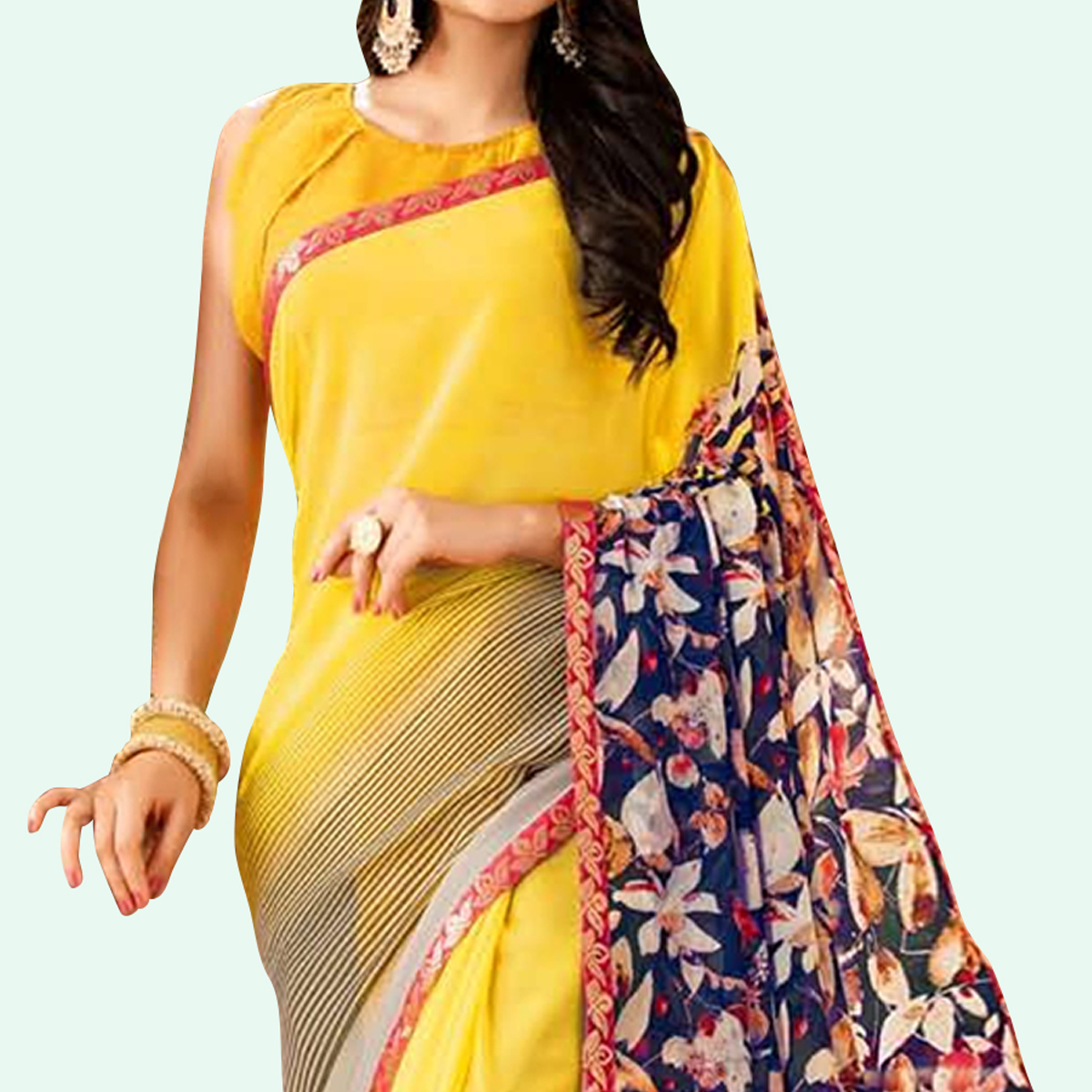 Blooming Yellow Colored Casual Printed Faux Georgette Saree