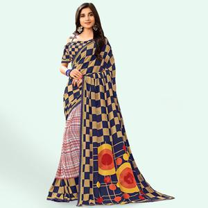 Charming Blue-Multi Colored Casual Printed Faux Georgette Saree