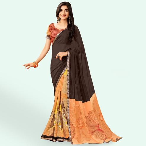 Classy Brown-Peach Colored Casual Printed Faux Georgette Saree