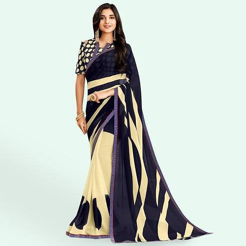 Delightful Cream-Blue Colored Casual Printed Faux Georgette Saree