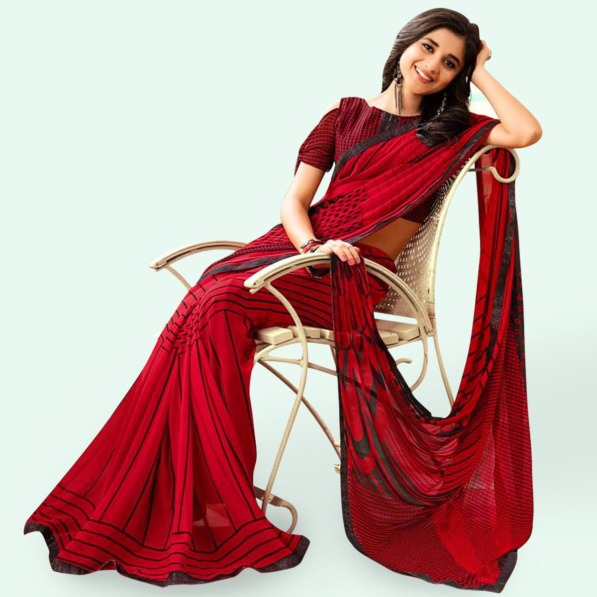 Engrossing Red Colored Casual Printed Faux Georgette Saree