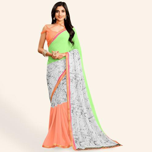 Eye-catching White-Multi Colored Casual Printed Faux Georgette Saree