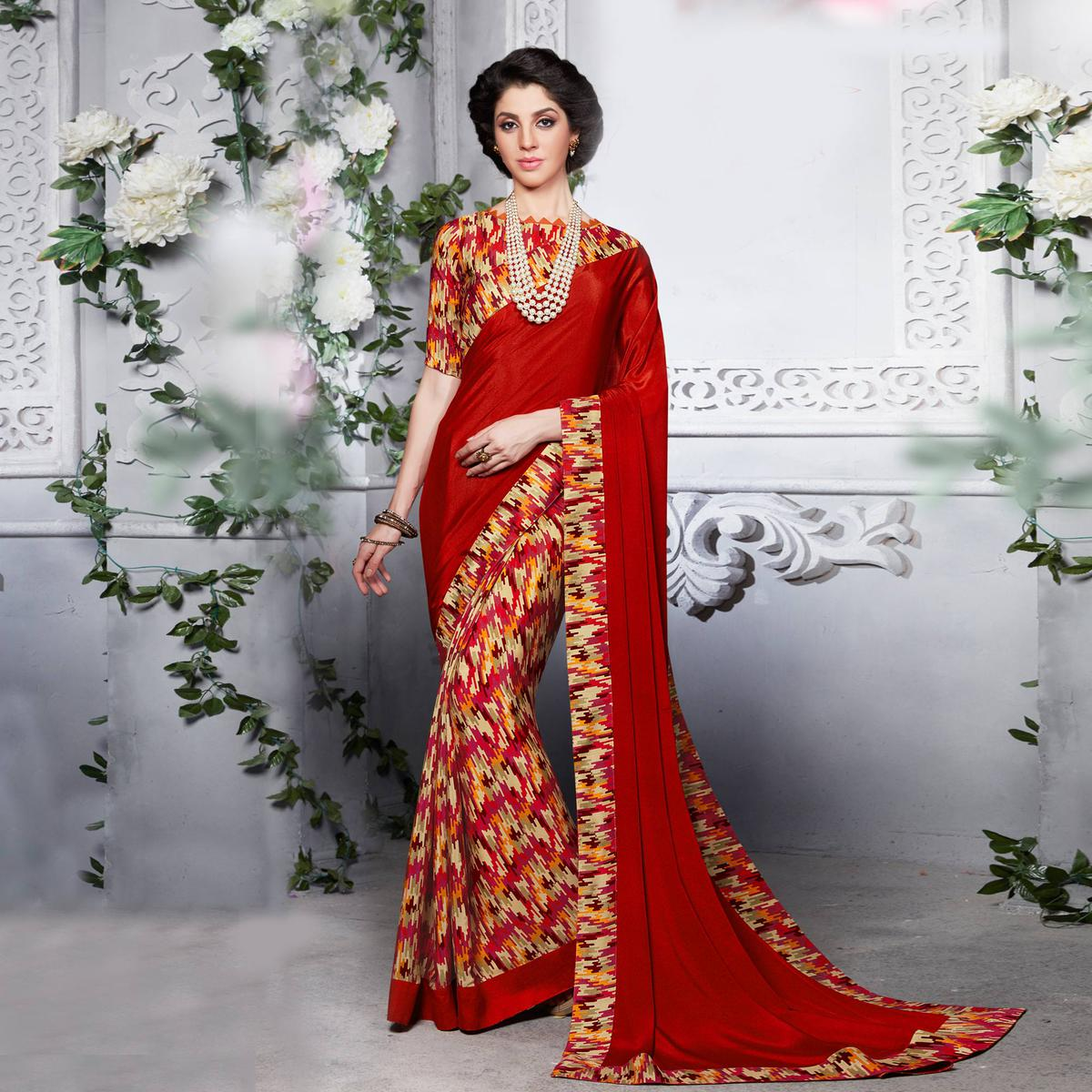 Red Silk Crape Printed Half - Half Saree