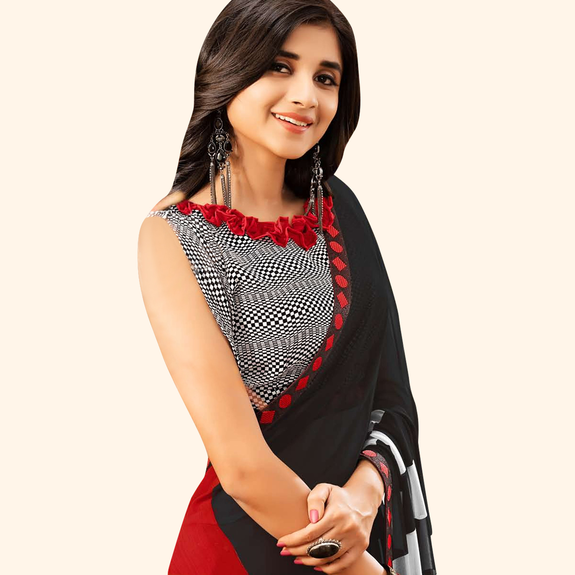 Unique Black-Red Colored Casual Printed Faux Georgette Saree