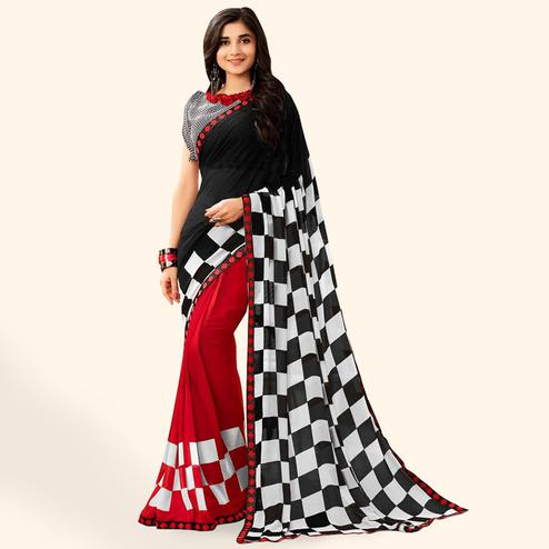 be80602a65ce0d Unique Black-Red Colored Casual Printed Faux Georgette Saree