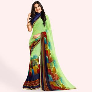 Demanding Green Colored Casual Printed Faux Georgette Saree