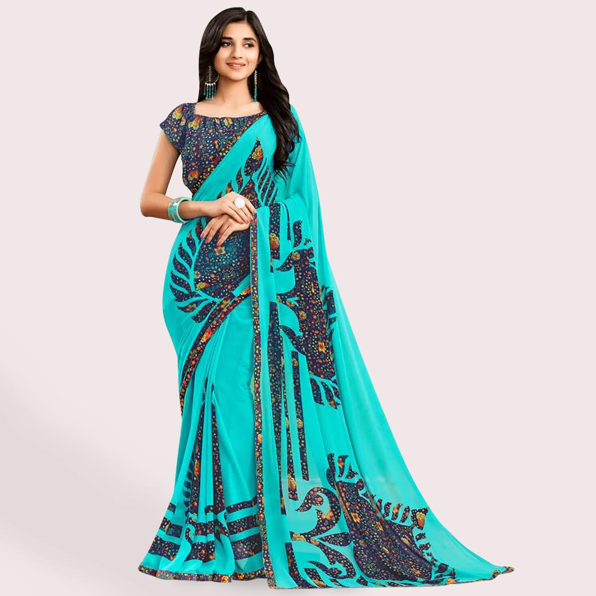 Lovely Aqua Blue Colored Casual Printed Faux Georgette Saree