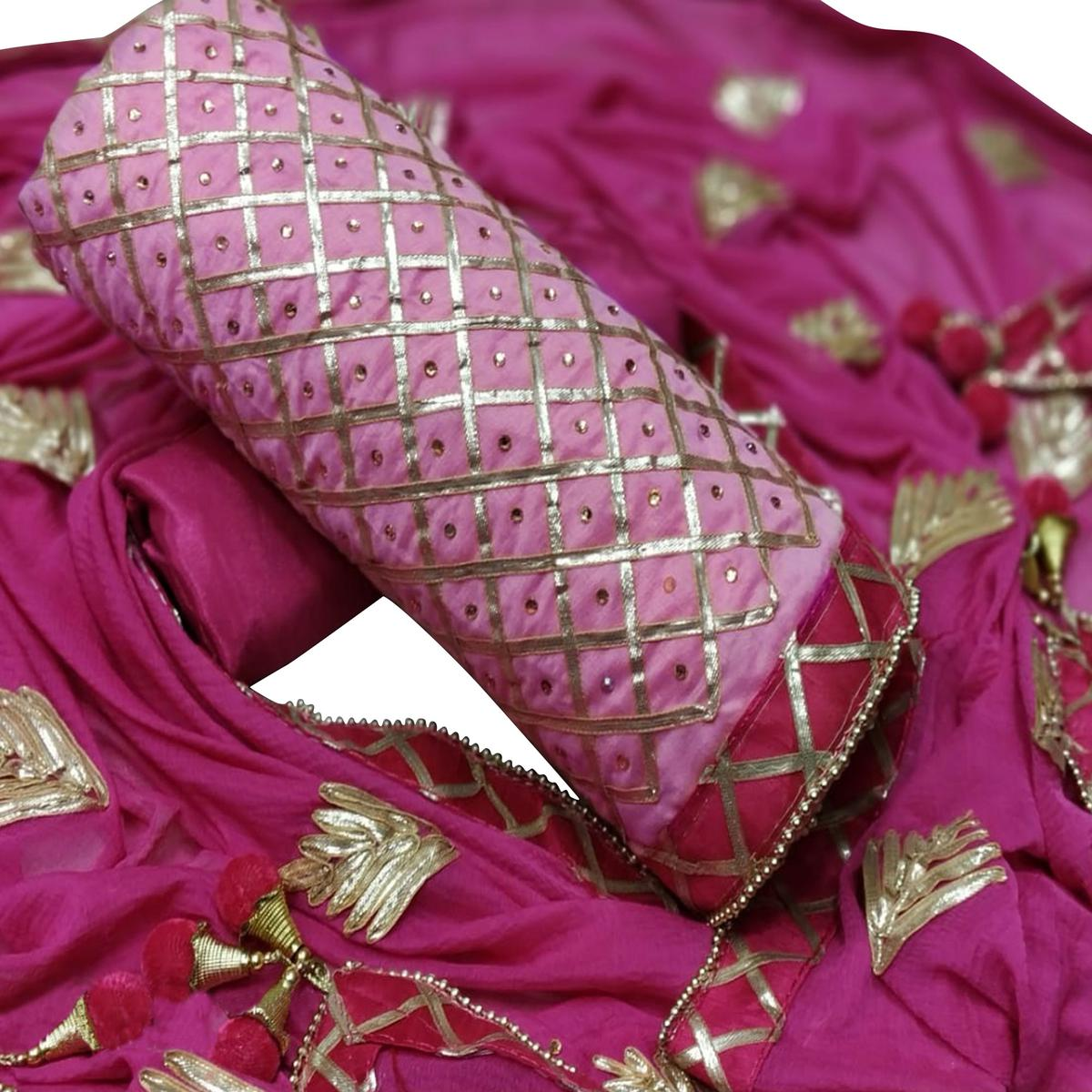 Pleasant Pink Colored Party Wear Chanderi Dress Material
