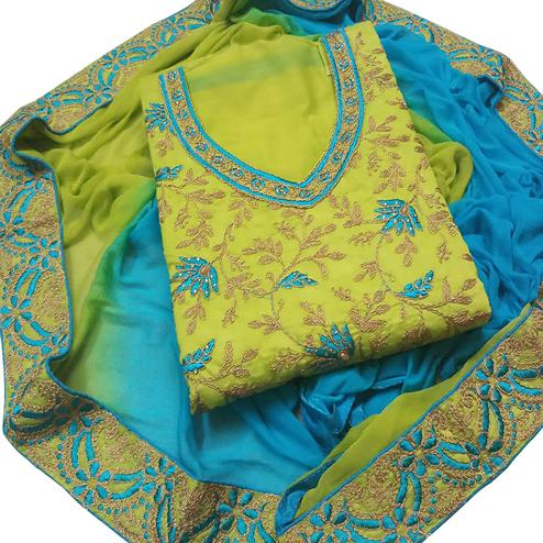 Demanding Green Colored Party Wear Embroidered Chanderi Dress Material