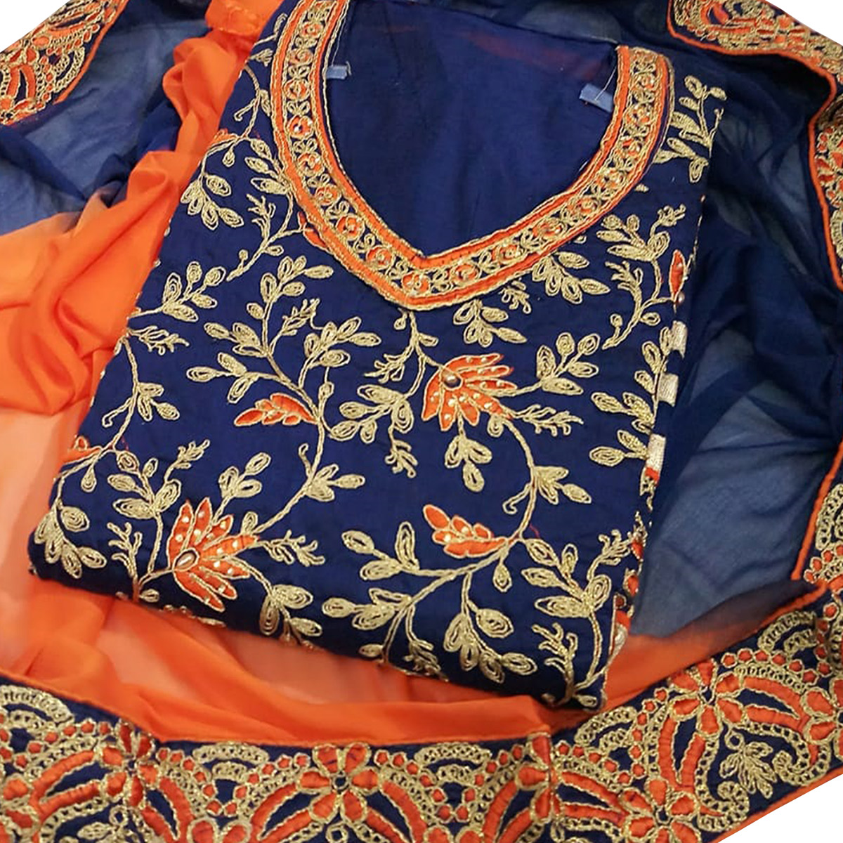 Refreshing Navy Blue Colored Party Wear Embroidered Chanderi Dress Material