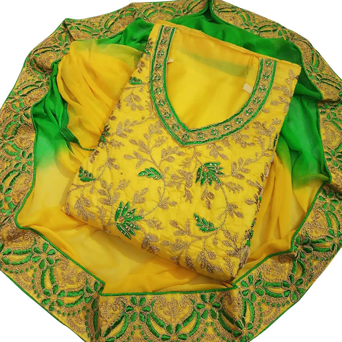 Hypnotic Yellow Colored Party Wear Embroidered Chanderi Dress Material