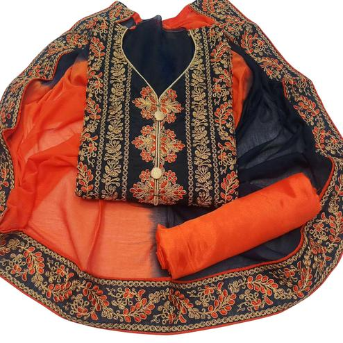 Excellent Black Colored Party Wear Embroidered Chanderi Dress Material