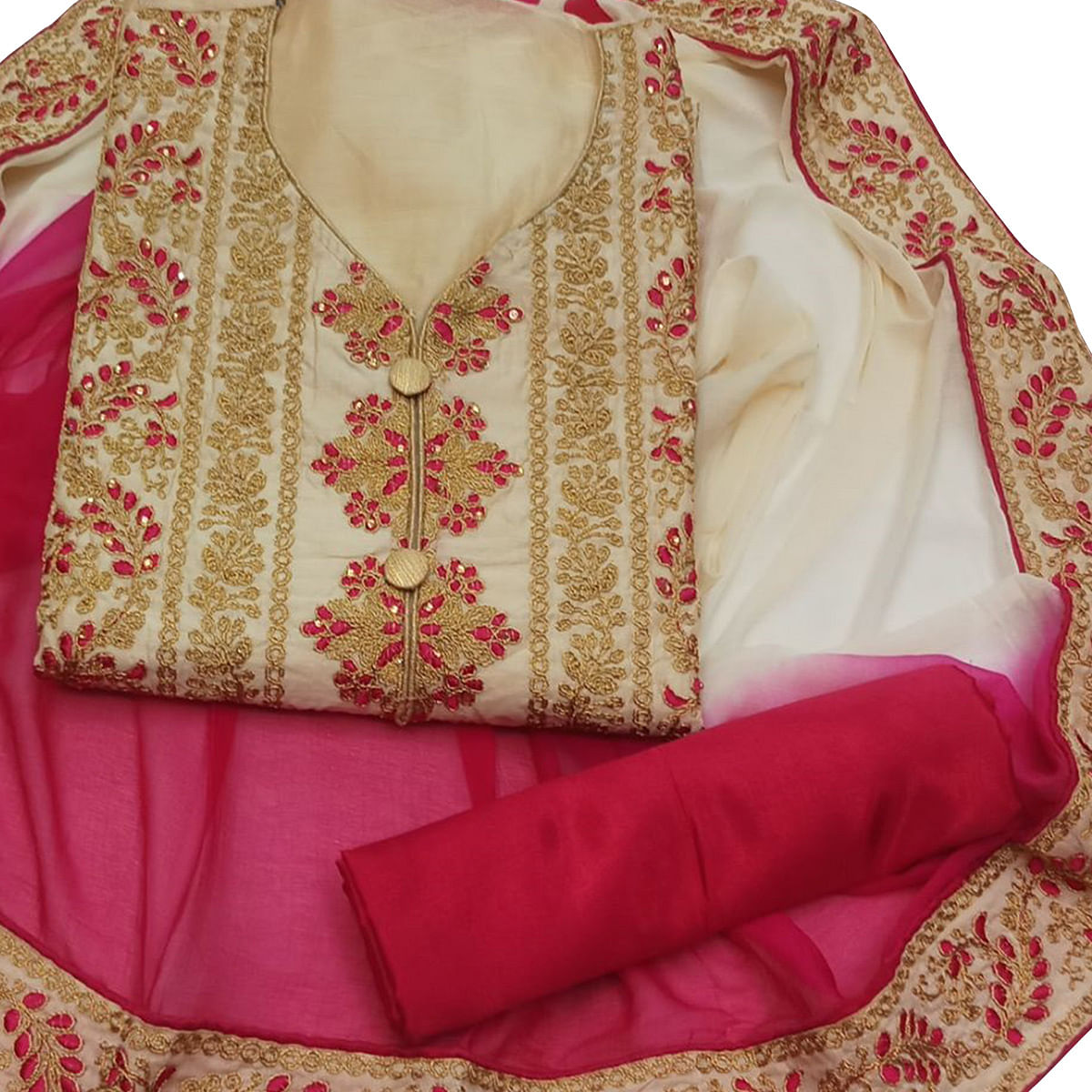 Flamboyant Cream Colored Party Wear Embroidered Chanderi Dress Material