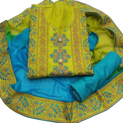Ethnic Green Colored Party Wear Embroidered Chanderi Dress Material