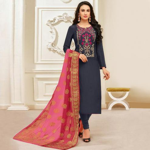 Delightful Navy Blue Colored Party Wear Embroidered Silk Salwar Suit