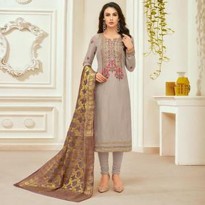 Engrossing Grey Colored Party Wear Embroidered Silk Salwar Suit