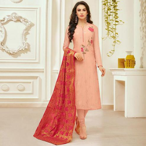 Entrancing Peach Colored Party Wear Embroidered Silk Salwar Suit