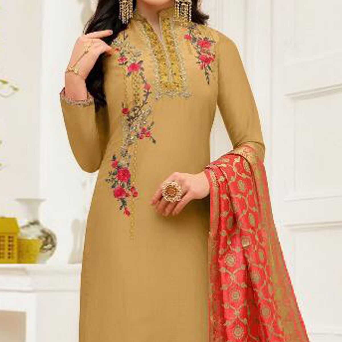 Trendy Beige Colored Party Wear Embroidered Silk Salwar Suit