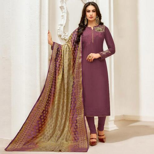 Flattering Dark Mauve Colored Party Wear Embroidered Silk Salwar Suit