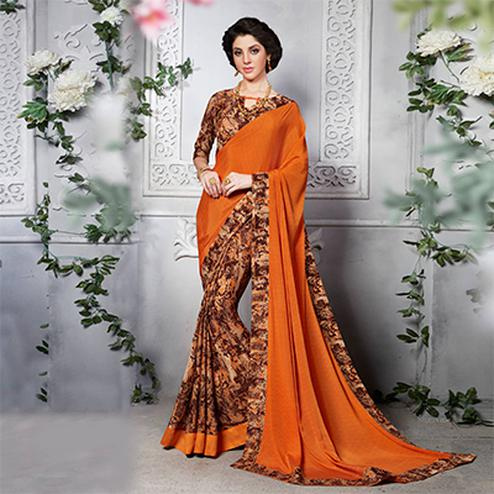 Orange - Brown Silk Crape Printed Half - Half Saree