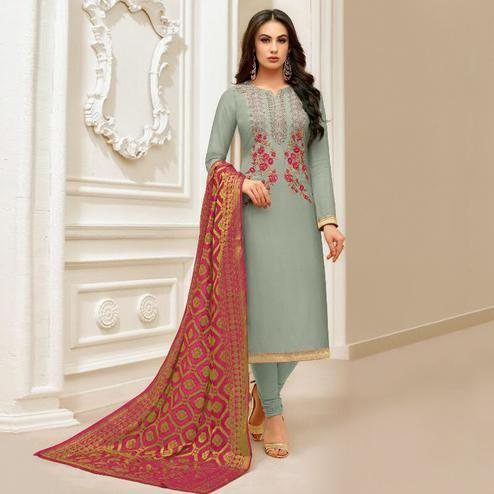 Radiant Slate Blue Colored Party Wear Embroidered Silk Salwar Suit
