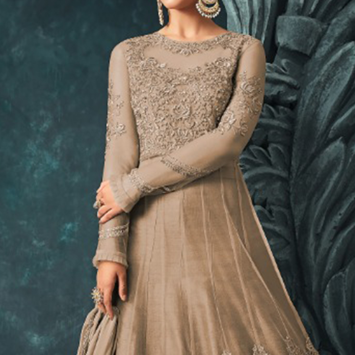 Pleasant Beige Colored Party Wear Embroidered Net Anarkali Suit