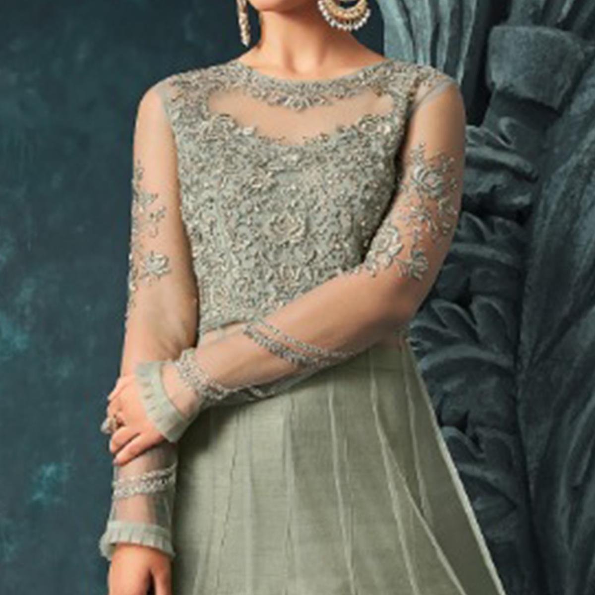 Opulent Pastel Green Colored Party Wear Embroidered Net Anarkali Suit