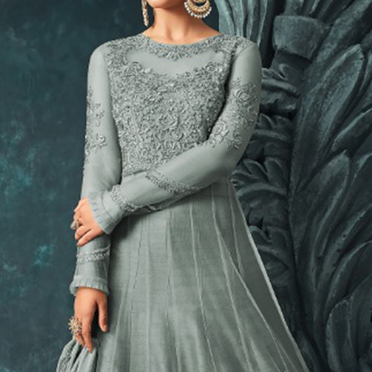 Energetic Grey Colored Party Wear Embroidered Net Anarkali Suit
