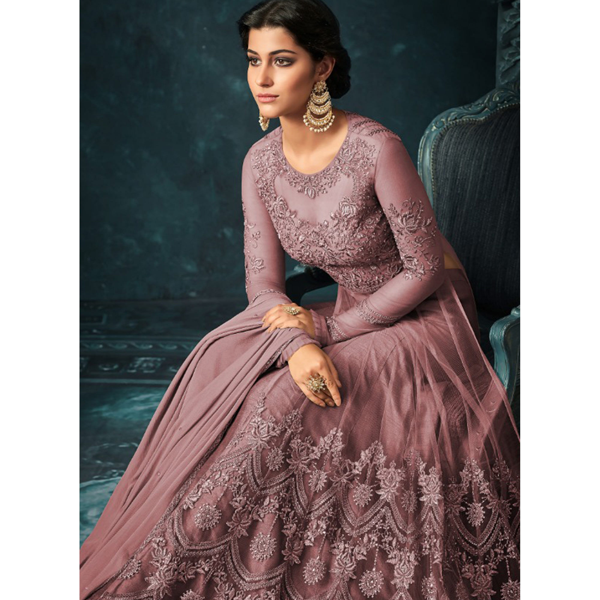 Glowing Mauve Colored Party Wear Embroidered Net Anarkali Suit