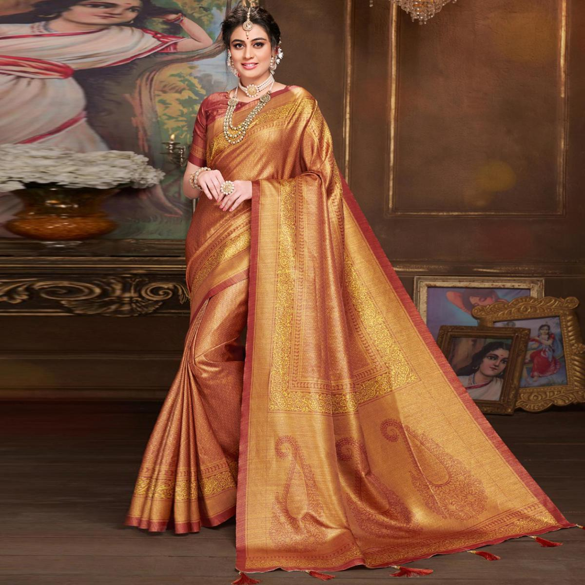 Breathtaking Rust Orange Colored Festive Wear Printed Silk Saree