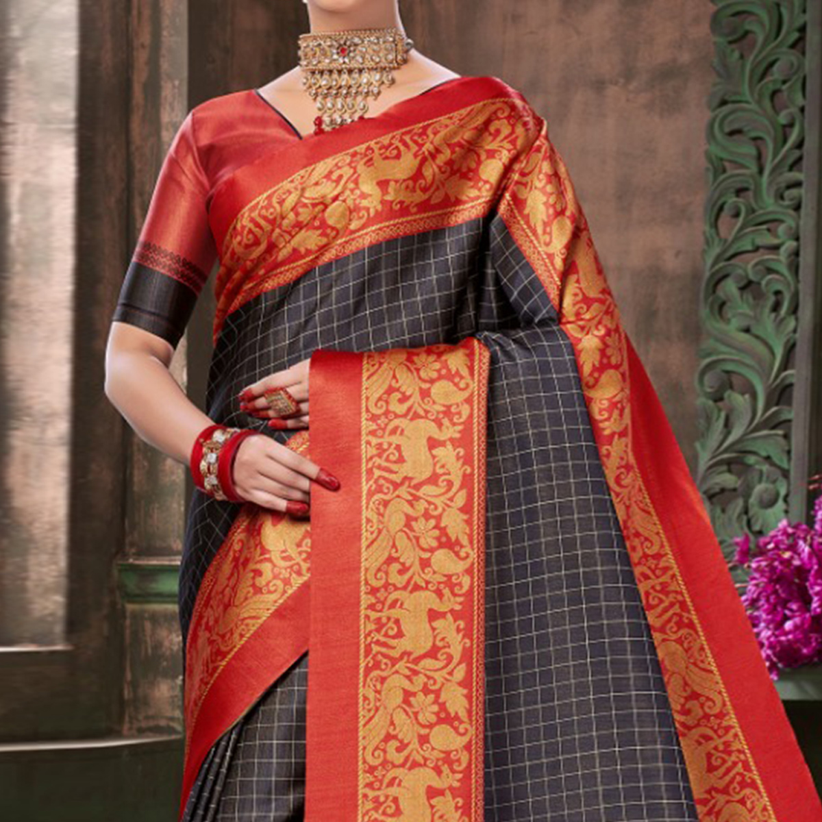Desirable Blackish Gray Colored Festive Wear Printed Silk Saree