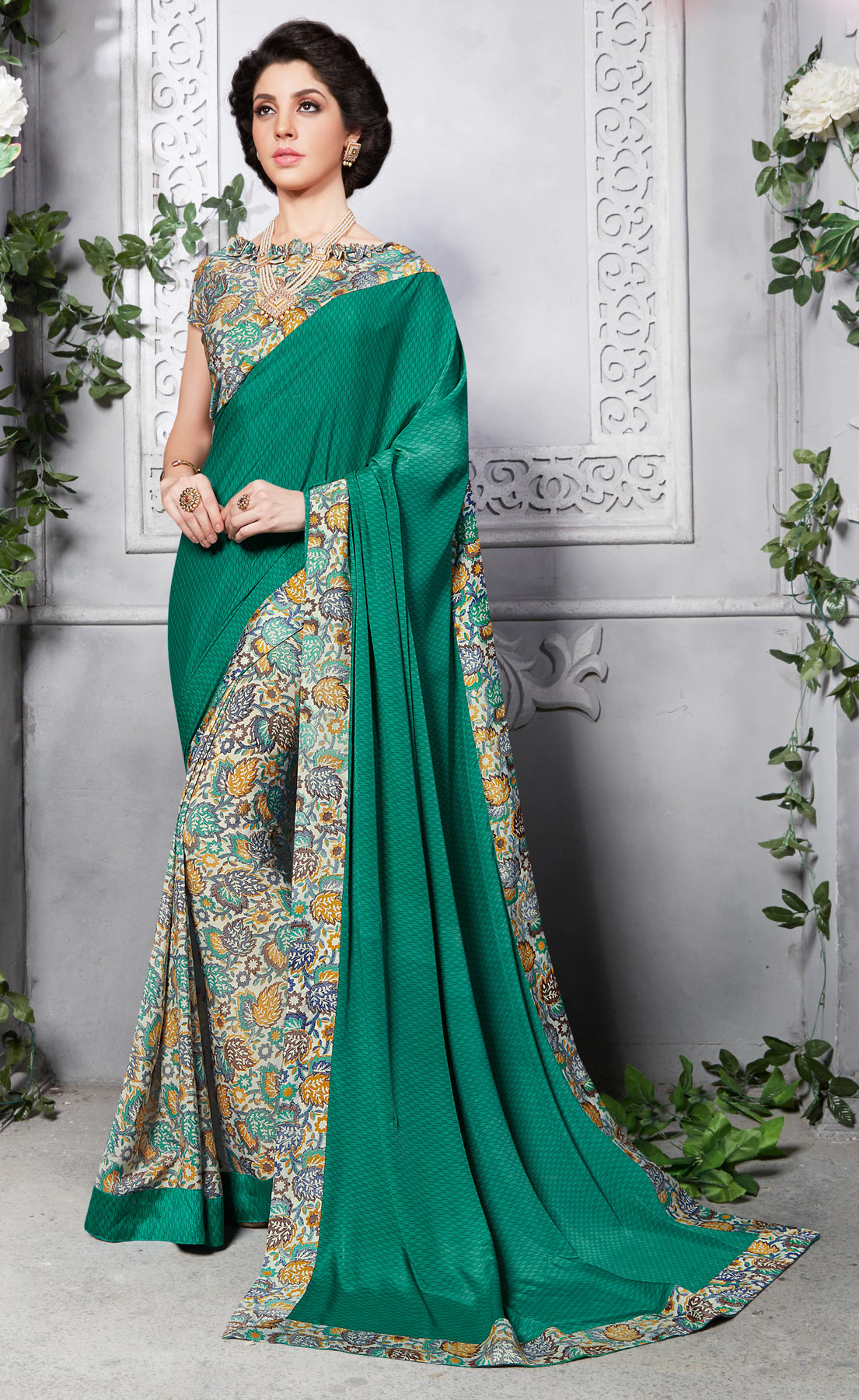Green - Cream Silk Crape Printed Half - Half Saree
