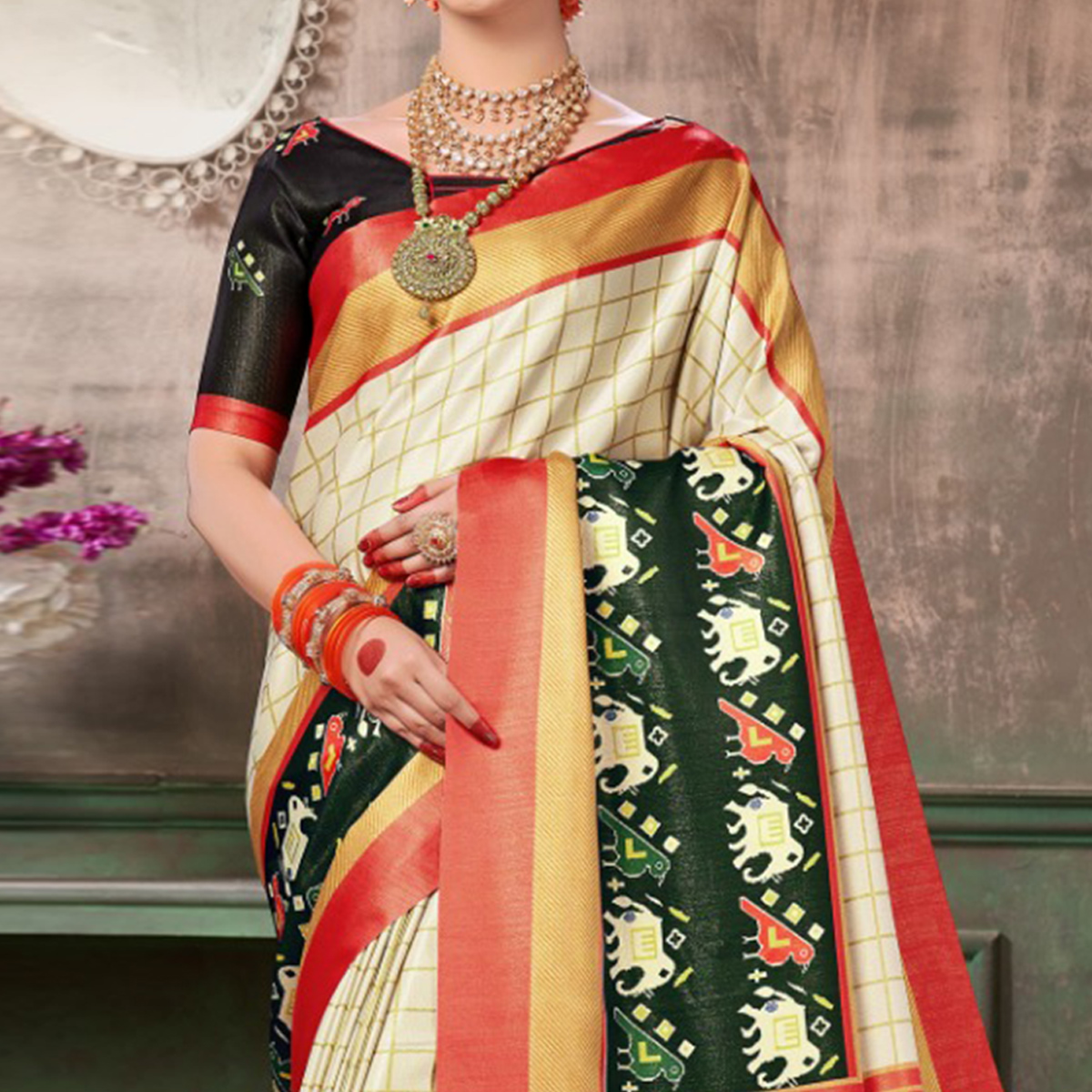 Flattering White-Red Colored Festive Wear Printed Silk Saree