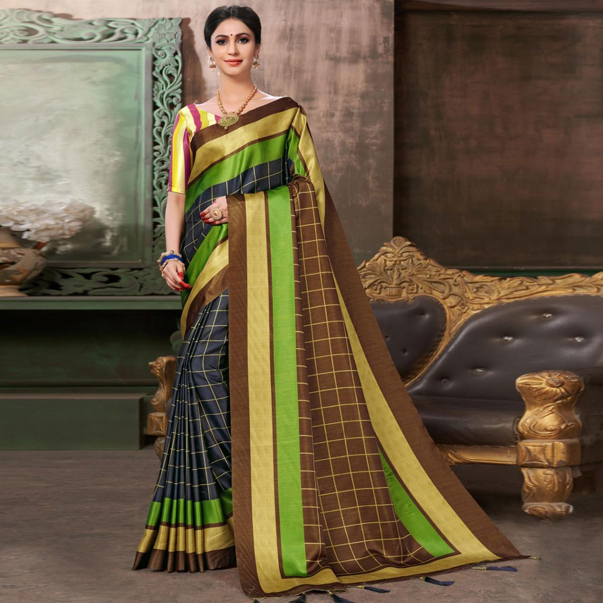 Radiant Navy Blue-Brown Colored Festive Wear Printed Silk Saree