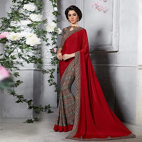 Red - Grey Silk Crape Printed Half - Half Saree