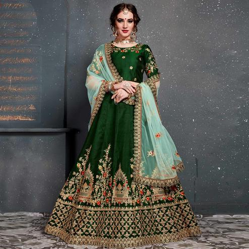 Dark Green Colored Party Wear Embroidered Tapeta Silk Lehenga Choli