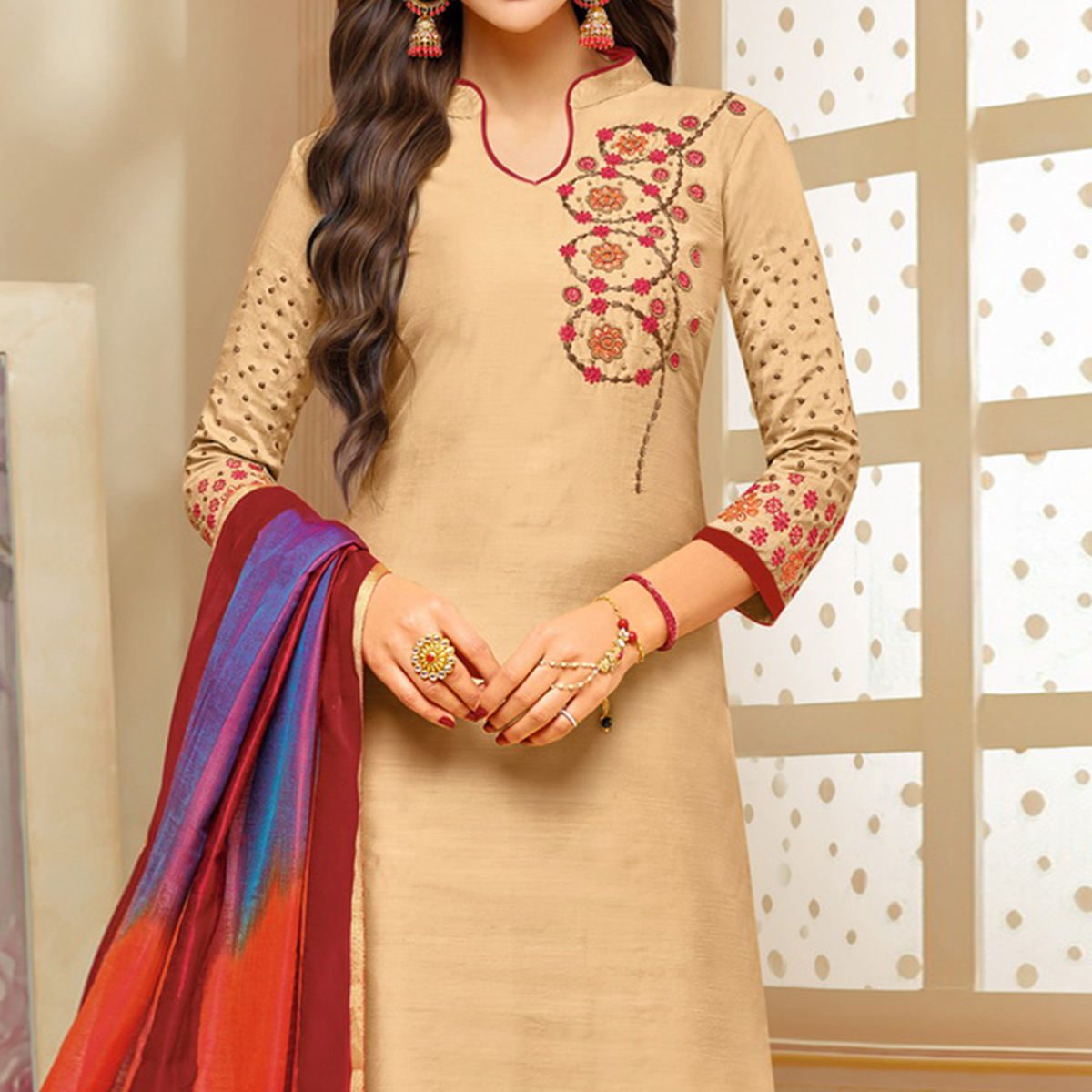 Pleasant Beige Colored Embroidered Party Wear Cotton Silk Dress Material