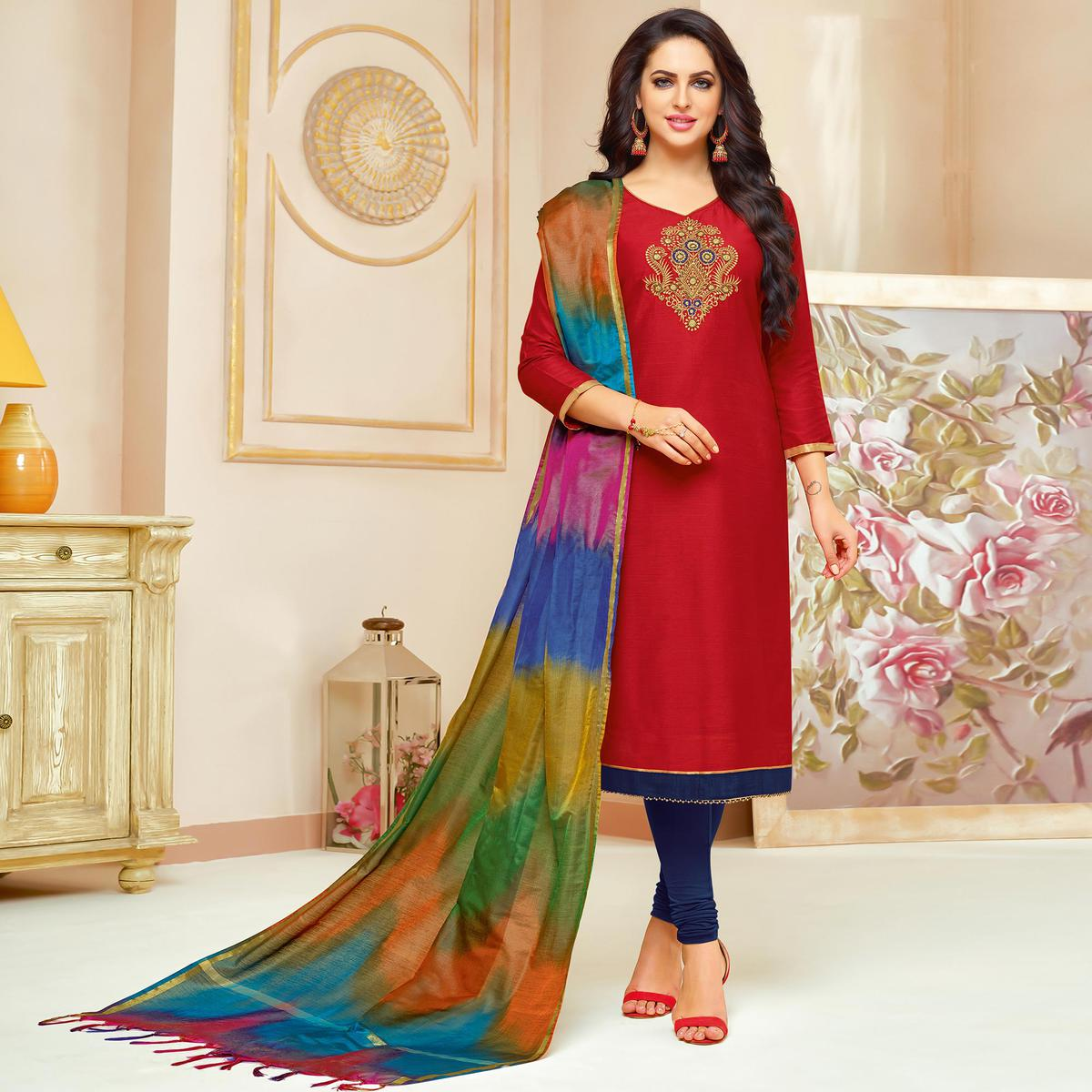 Buy Energetic Red Colored Embroidered Party Wear Cotton Silk Dress Material Online India Best Prices Reviews Peachmode