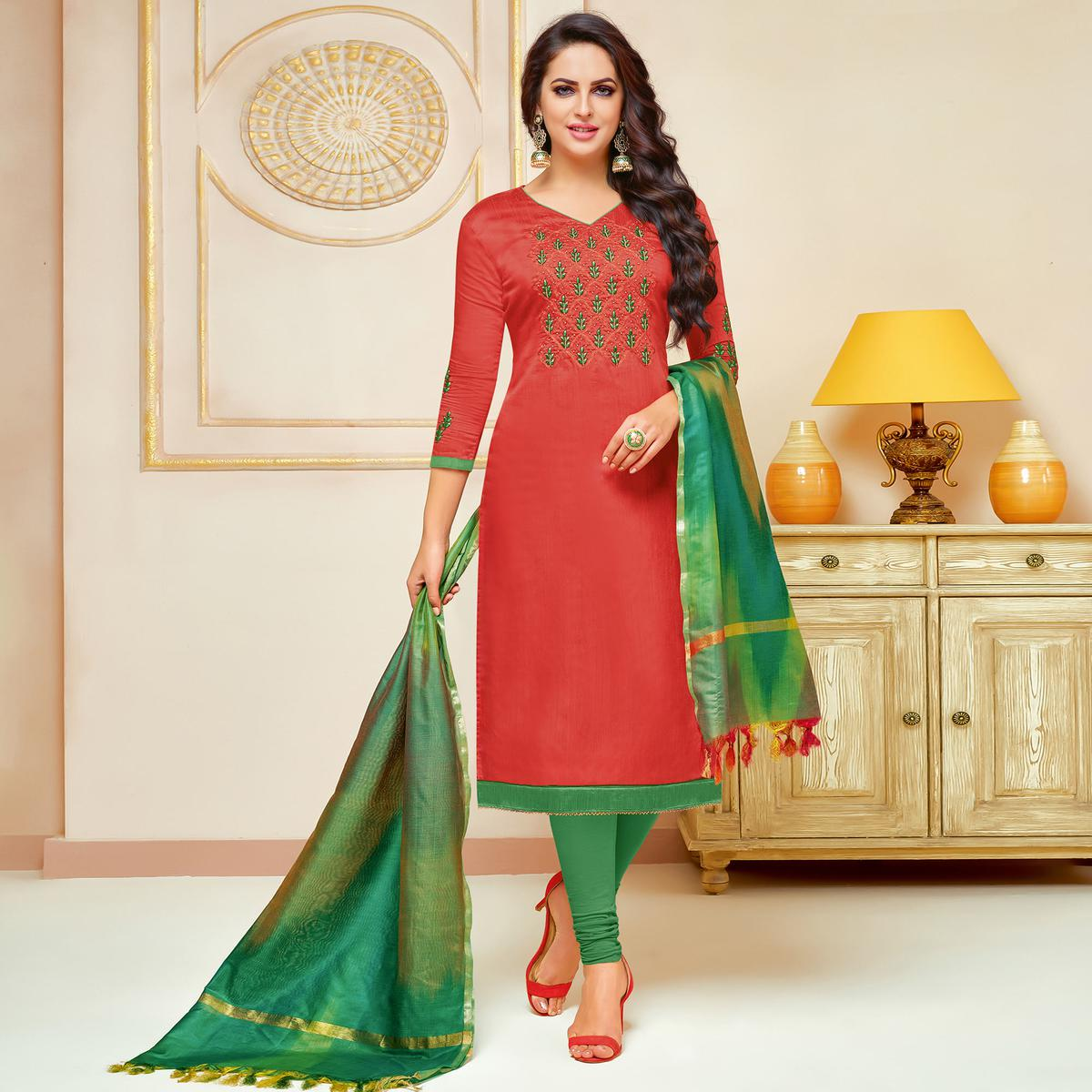 Exceptional Coral Red Colored Embroidered Party Wear Cotton Silk Dress Material