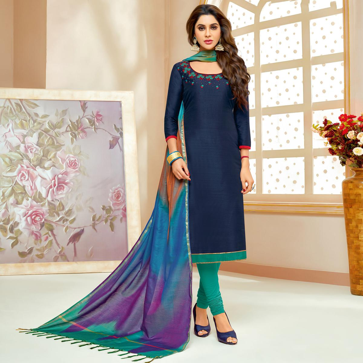 Gleaming Navy Blue Colored Embroidered Party Wear Cotton Silk Dress Material