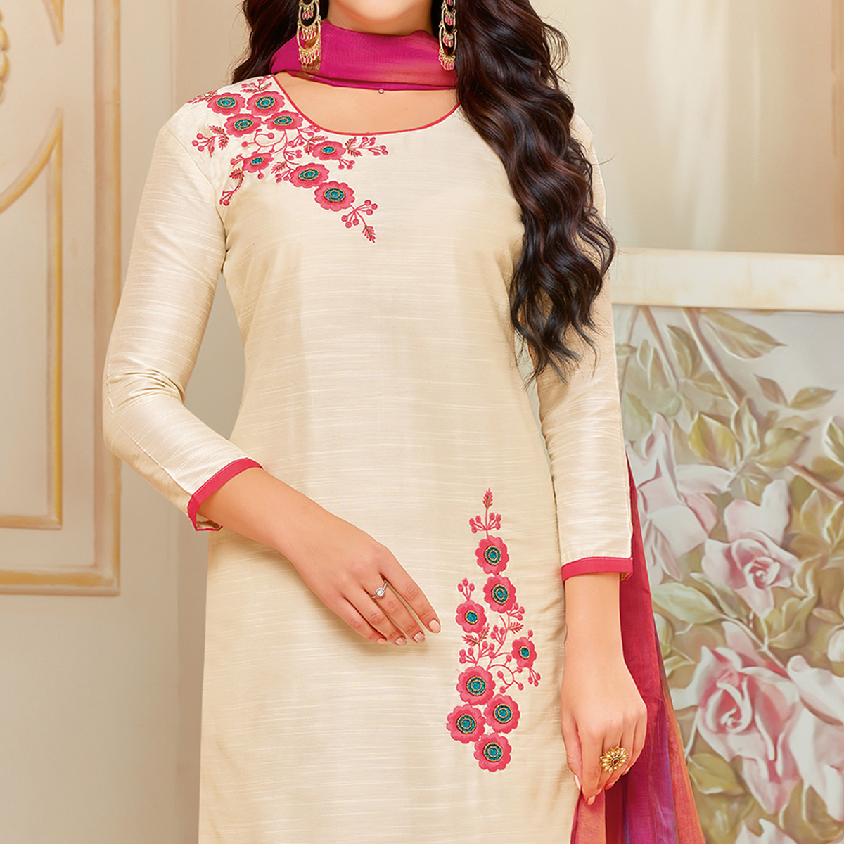 Mesmeric Cream Colored Embroidered Party Wear Cotton Silk Dress Material