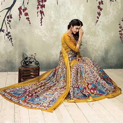 Stunning Multicolor & Mustard Silk Printed Saree