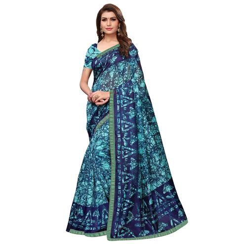 Mesmeric Blue Colored Casual Wear Printed Art Silk Saree