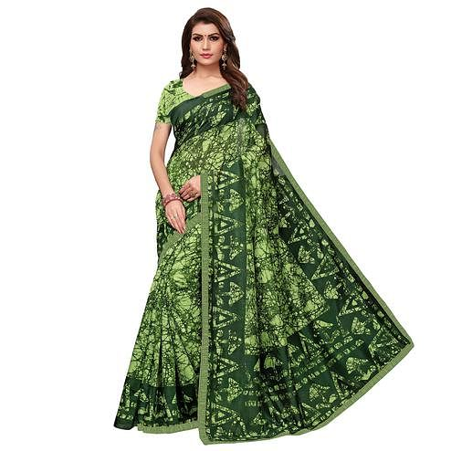 Refreshing Green Colored Casual Wear Printed Art Silk Saree
