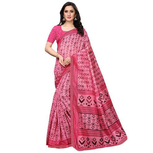Magnetic Light Pink Colored Casual Wear Printed Art Silk Saree